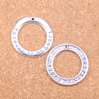 40pcs Antique Silver Bronze Plated circle forever in my heart Charms Pendant DIY Necklace Bracelet Bangle Findings 28mm