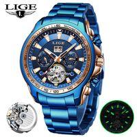 Relogio Masculino 2021 LIGE Luxury All Steel Mens Mechanical Watches Men Automatic Tourbillon Blue Fashion Waterproof Clock Wristwatches