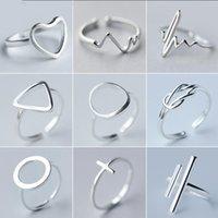 الحد الأدنى مجوهرات الفضة اللون خواتم هندسية للنساء قابل للتعديل جولة مثلث نبضات البنصر الخاتم باجي فام