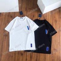 21ss 남자 인쇄 티셔츠 폴로스 디자이너 빨간색 라벨 컬러 문자 슬리브 파리 옷 망 셔츠 태그 느슨한 스타일 검은 흰색