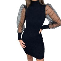 Womens Dresses Sexy Mesh Sheer Puff Sleeve Bodycon Dress Ladies Evening Party Mini Office Lady Clothes Polka Dot Casual