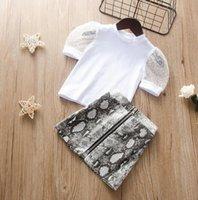 여름 여자 의류 세트 Seersucker 짧은 소매 탑 패턴 스커트 복장 아기 소녀를위한 아이 옷