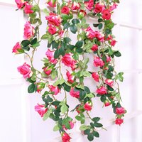 Decorative Flowers & Wreaths 180cm Real Touch Silk Roses String Vines Artificial Wreath Rattan Wall Hanging Garland Wedding Party Home Decor