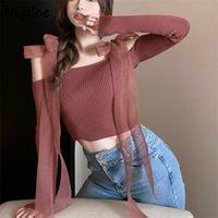 Sexy Slash Hals trägerlos Schulter Strick Pullover Frauen Slim Fit Lace Up Bogen Design Feste Pull Femme Frühling Sueter 210422