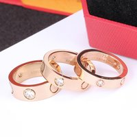 Fábrica al por mayor Top Calidad 316 Acero inoxidable Anillo de amor para mujeres Hombres Pareja de dedo Anillos de boda Rose Oro Silver Sin Caja