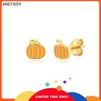 ANDYWEN 925 Sterling Silver Gold Yellow Pumpkin Stud Earring Piercing Clips Pendiente Fashion Fine Jewelry 2021 Crystal CZ