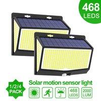 Solar Lamps 468 LED Light Outdoor Lamp Human Body Sensor 3 Modes Waterproof Garden Decorction Street Lights 208 Sunlight Powered