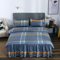 Bedding Sets Plaid Bedroom 3 4Pcs Duvet Cover Pillowcase Bed Skirt Set Twin Full Queen Size Linings Home Textiles Bedclothes