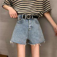 Ailegogo Sommer Frauen Vintage Blue Denim Shorts mit Gürtel Lässig Weibliche Hohe Taille Solide Farbe Streetwear Black Jeans Frauen