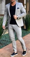 Grey 2 Piece Wedding Tuxedos Men Suits One Button Summer Casual Suit for Mens Blazer Jacket Costume Mariage Homme Coat+Pant
