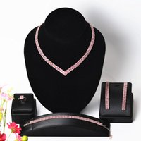 Earrings & Necklace Ladies Jewelry Set Color Rhinestone Crystal Wedding Prom Performance Accessories CORUIXI HN3307