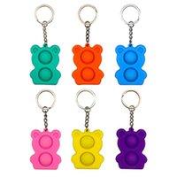 DHL Fidget Toys Push Bubble Silicone Sensory Vierkant Mini Bear Keychain è adatto per alleviare lo stress Bambini Montessor