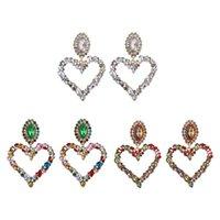 Dangle & Chandelier 13MC Shiny Rainbow Crystal Rhinestone Large Heart Pendant Bib Earrings Statement Women Fashion Jewelry