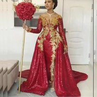 Burgundy Overskirts Evening Dresses african Full Sleeves V Neck Gold Lace Appliques Plus Size Prom Dress Arabic Dubai robe de soirée