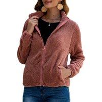 Cofekate 2021 Fur Coat Fluffy Casual Warm Overcoat Short Slim Outwear Solid Color Zipper Crop Jackets For Women Women's