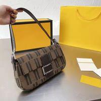Baguette Umhängetasche mittelalterliche Zeitabnehmbare Gürtel FF-Buchstaben Geldbörse Leinwand Frauen Brieftasche Axillar-Taschen Handtasche Mini-Tote
