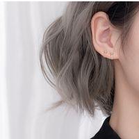 Anaphylactic studs female side earbone hoop earrings stud silver plated raising earhole earring small earbone-ring ear buckle [Store Opening]