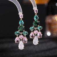 Bohemian Women Dangle Earrings for Wedding Party Summer Beach Personality Jewelry Luxury Pink Green Crystal Zircon Long Drop Earring