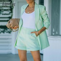 Women's Tracksuits Office Lady Fashion Two Piece Set 2022 Spring Casual Long Sleeve Jacket And Shorts Suits Female Elegant Solid Outfits Str