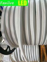 Strips Fanlive 50m 8mm * 16mm largo mini neon flex 120 LED / m 2835 SMD RGB Striscia a LED Tubo impermeabile 220V 12V 24V 110V Nastro flessibile