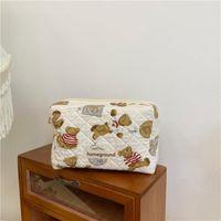 Pencil Bags Cartoon Cute Cookie Bear Bag Large Capacity Cosmetic Multi Function Portable Storage Kawaii School Stationery