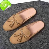 AA Women's Summer Lazy Slippers Vintage Tassels Mules Shoes Outdoor Low Heel Solid Sandals Slides Flip-flops Size 32-43