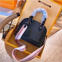 Vintage Cowhide Alma BB Water Ripple Shoulder Crossbody Bags Shell Totes Women Fashion Messenger Bag Designer Handbags Lady Clutch Purse