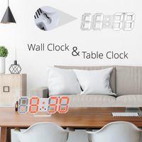 Wall Clocks Clock LED 3D Modern Design Digital Table Alarm Nightlight Saat Reloj De Pared Watch For Home Living Room Decoration