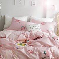 Bedding Sets Fashion 4Pcs Set Sweet Peach Theme Comfortable Cotton Set Bed Comforter For Women Kawaii Girl Duvet Cover Sheet