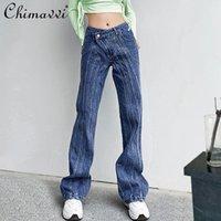 Pantalones casuales de la moda de los pantalones vaqueros de la mujer 2021 Symétrico oblicuo de la cintura plagada Multi-line Splack Stitching Pierna recta femenina
