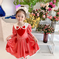 Girls christmas party dresses lolita kids red love heart embroidery birthday clothing children lapel puff sleeve princess dress Q2839