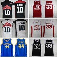 NCAA 2012 Takım ABD Alt Merion 33 Bryant Jersey Koleji Erkekler Lise Basketbol Hightower Crenthaw Rüya Kırmızı Beyaz Mavi Dikişli