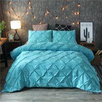 럭셔리 블랙 이불 커버 핀치 주름 짧은 침구 세트 퀸 킹 사이즈 3PCS 침대 린넨 세트 이불 커버 PillowCase45 369 V2