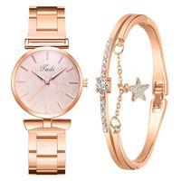 Relojes de pulsera Rose Gold Woman Set 2pcs Simple 2021 Regalo Hoja Ladies Star Star Crystal Bracelet Vestido Montre Femme Relogio