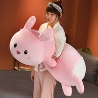 Cute Fat Pink Rabbit Plush Toy Giant Sleeping Pillow Super Soft Cartoon Bunny Doll for Girl Gift Decoration 47inch 120cm DY50973