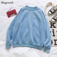 O-cuello jersey coreano más tamaño mujeres sueltas tops chicas ropa otoño sólido vellón algodón casual sudadera 12002 210518