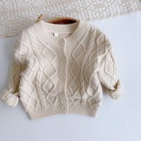 Pullover Baby Girl Clothes Boy 0-5 Years Old Autumn Winter Warm Sweater Knit Cardigan Wool Solid Rhombus Knitting