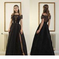 Sexy Off The Shoulder Black Evening Dresses 2018 Lace Applique Beads Backless Split Plus Size Prom Dress Pageant Gowns Robes De Soirée