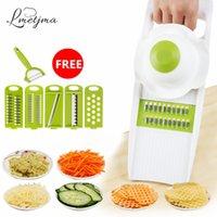 Lmmetjma stee inoxidável Qiecai 5 define fatiadores de triturador em tiras de dispositivo de corte de ralas de corte de batatas fio de cenoura k0032 210326
