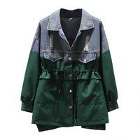 Women's Jackets Denim Jacket Oversized 4XL Ladies Fashion Windbreaker Outerwear Mid-Long Drawstring Cowboy Color Matching Casual Coats