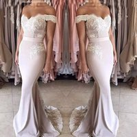 2021 Dusty Pink Off Shoulder Mermaid Bridesmaid Dresses Cheap Lace Appliqued Formal Prom Evening Party GownLong Wedding Guest Dress