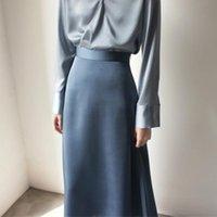 Skirts Women's Summer Vintage Satin Silk Skirt Korean High Waist Ankle Length A-Line Spring Chic Elegant Lady Sweet Clothes
