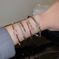 Mode Simple Personality Bangle Diamond Nail Open Armband Dames Luxe Sieraden