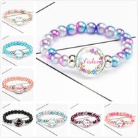Fashion Sister Pattern Beaded Bracelets Glass Charm Strands Women Jewelry Party Home Birthday Lovely Gifts Decor