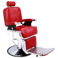 WACO Hydraulic Recline Barber Chair, Salon Furniture Hair Cutting Styling Shampoo Waxing with footrest Disc for Beauty Shop - Red