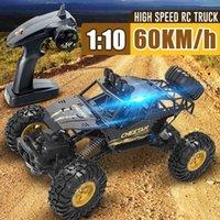 60km / ساعة عالية السرعة 4DW 1:12 2.4 جرام التحكم عن بعد سباق السيارات bigfoot تسلق السيارة أربعة عجلة القيادة الانجراف rc سيارة بوي هدية 210322