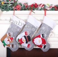 Christmas decoration Candy stockings Grey Xmas Tree Pendant Large Christmas-stocking with lights Kids Xmas-Gift Bag FS14