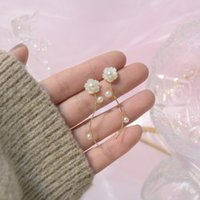 Stud 14K Real Gold Shell Carving Flowers Natural Freshwater Pearls Earrings For Women Cubic Zircon ZC Girl Gift