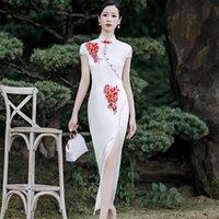 Chinese Traditional Slim Print Flower Lady Cheongsam Mandarin Collar Vintage Long Qipao Evening Party Sexy Dress Plus Size S-5XL Ethnic Clot