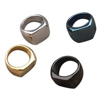 2021 Fashion Titanium Steel Square Ring for Women Men Can Engraved Words Couple Rings Gold Sliver Color anillos mujer Stainless steels Jewelry Woman Wedding Gift